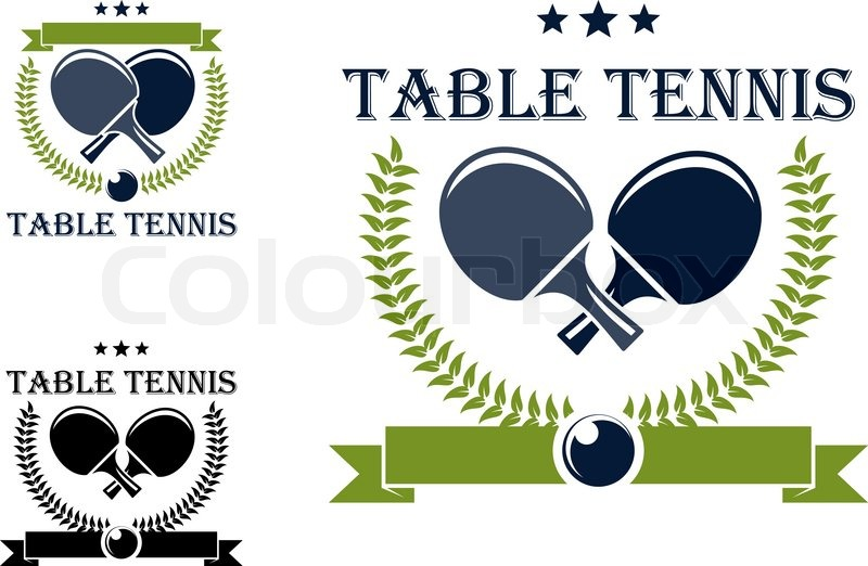 Table Tennis Or Ping Pong Symbols With Rackets Stars