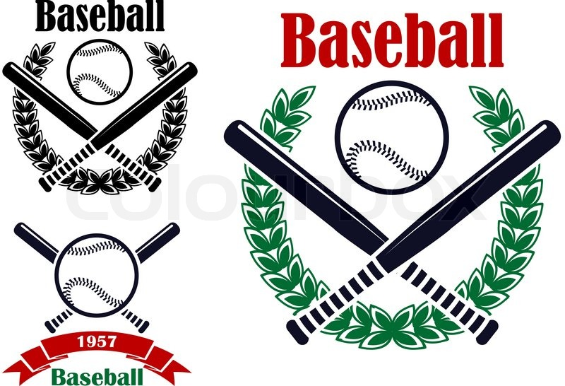 Baseball Sporting Emblems Or Symbols With Ball Bats And Laurel