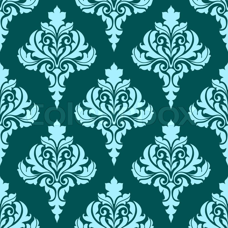 Floral seamless pattern with blue flowers on dark turquoise floral seamless pattern with blue flowers on dark turquoise background in square format for wallpaper backdrop and fabric design stock vector voltagebd Image collections