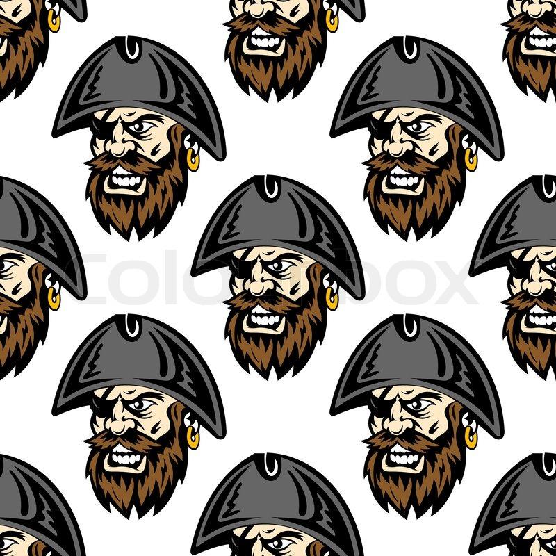 Cartoon Fierce One Eyed Pirate