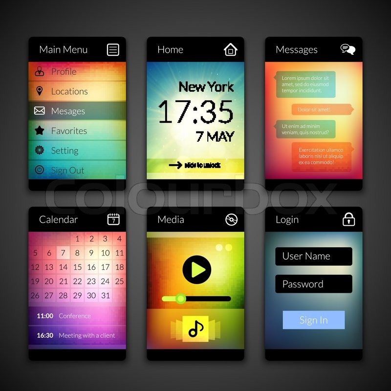Mobile interface elements with colorful wallpaper, design for ...