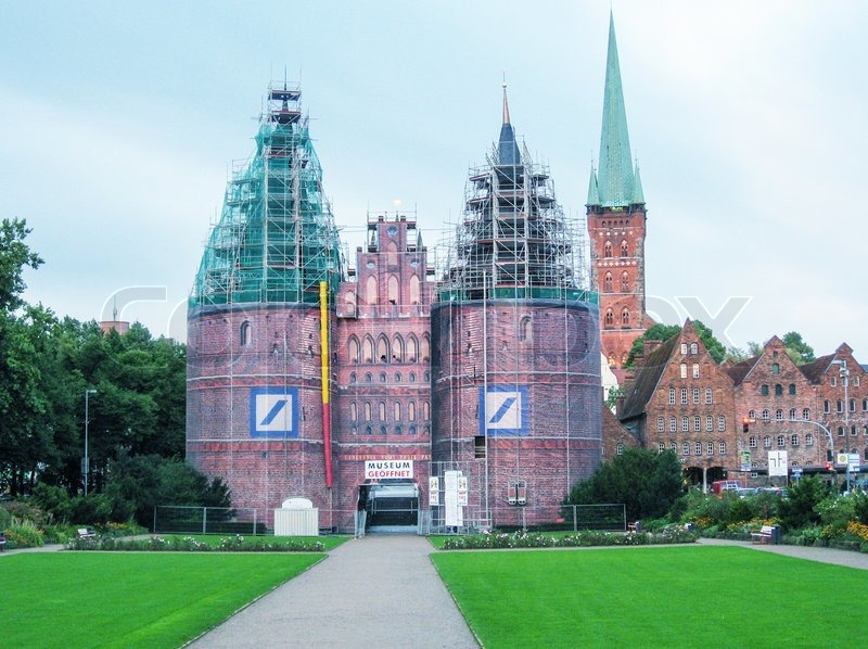 Editorial image of 'LUBECK, GERMANY - JUNE 30, 2007: City view on a beautiful summer day. More than 1 million visitors stay overnight every year.'