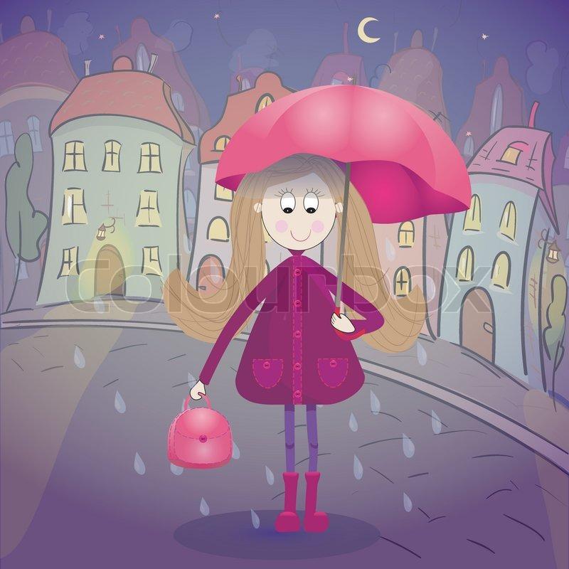 mädchen im regen mit regenschirm   stockvektor