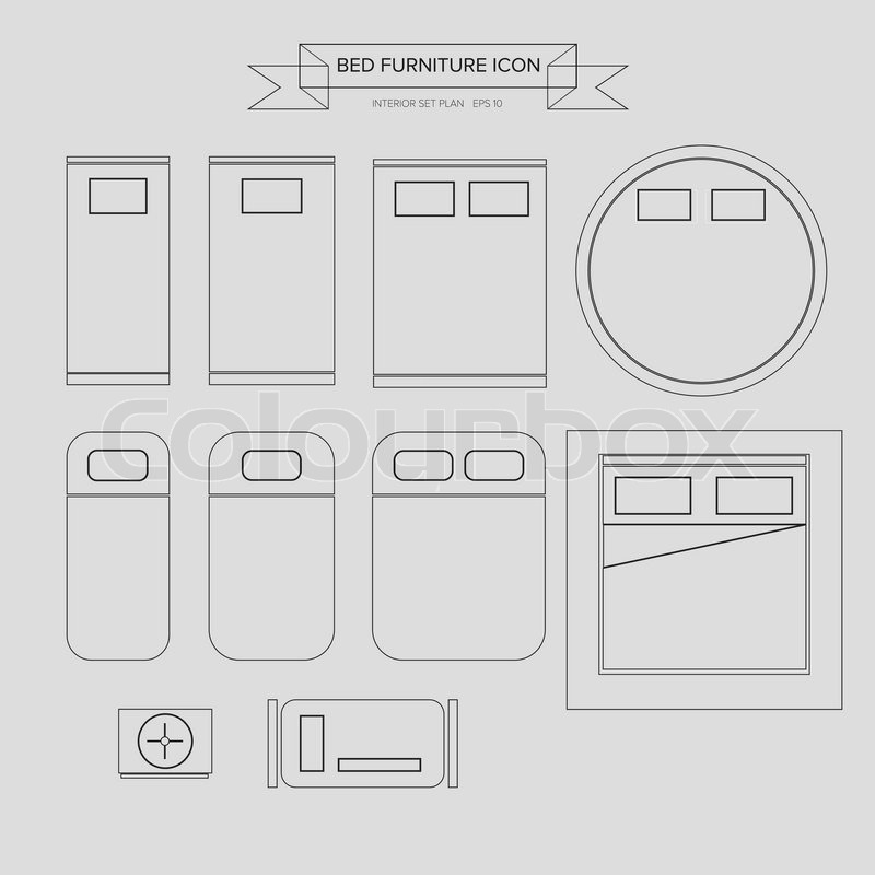 Bed Furniture Outline Icon Top View For Interior Plan Vector Eps10