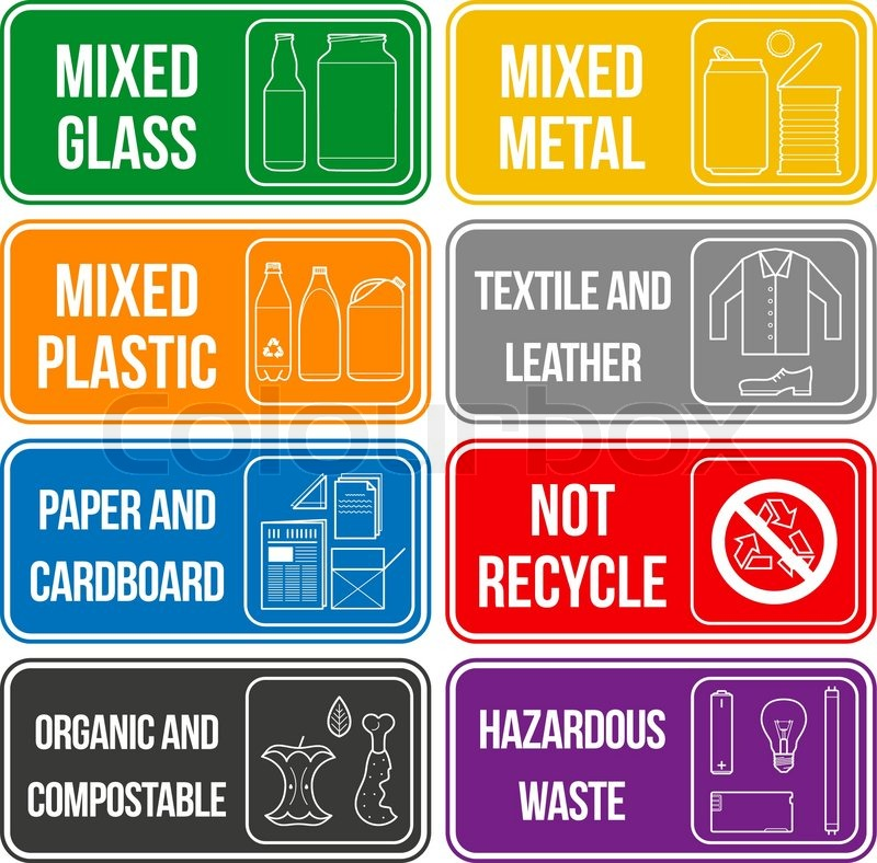 Vector Separate Collection Of Waste Stock Vector