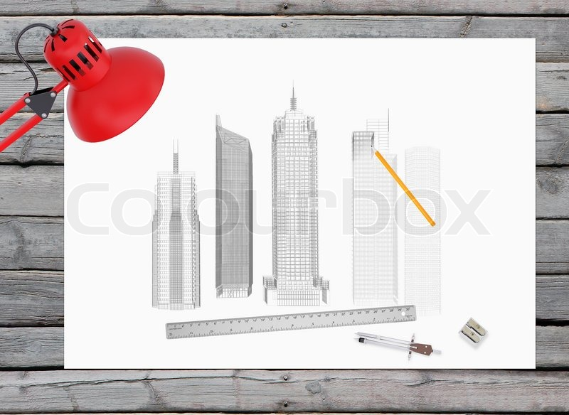 architectural drawing and office supplies on the background of wooden boards workplace of architect stock photo architect office supplies