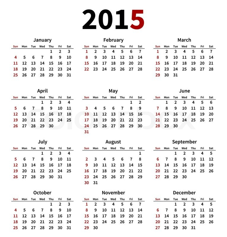 Simple 2015 year calendar on white background. Vector illustration ...