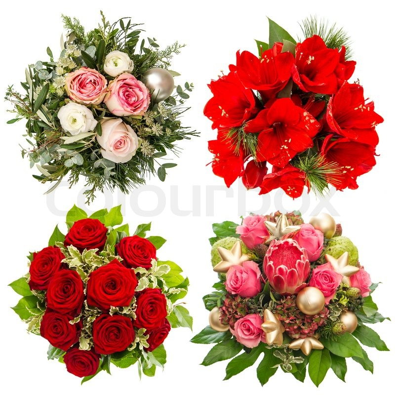 Four colorful flowers bouquet for Christmas and New Year holidays ...