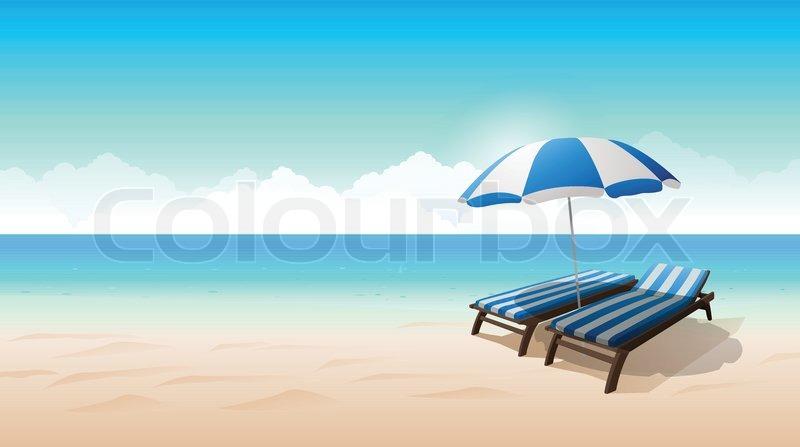 Vector beach landscape illustration chair beach umbrella, vector