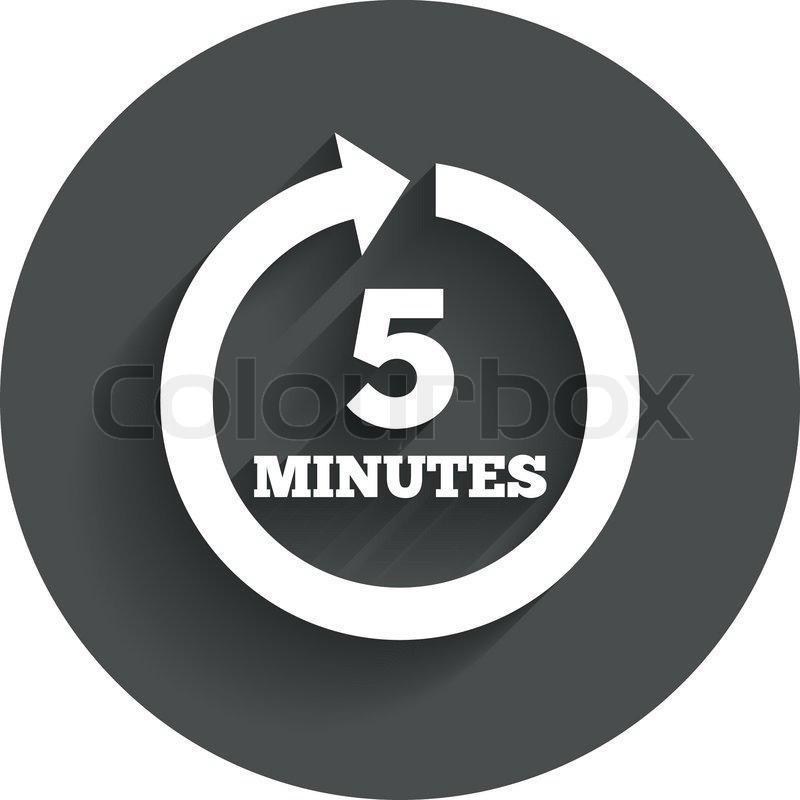 Alle 5 Minuten melden Symbol. vollständige Drehung Pfeil ...