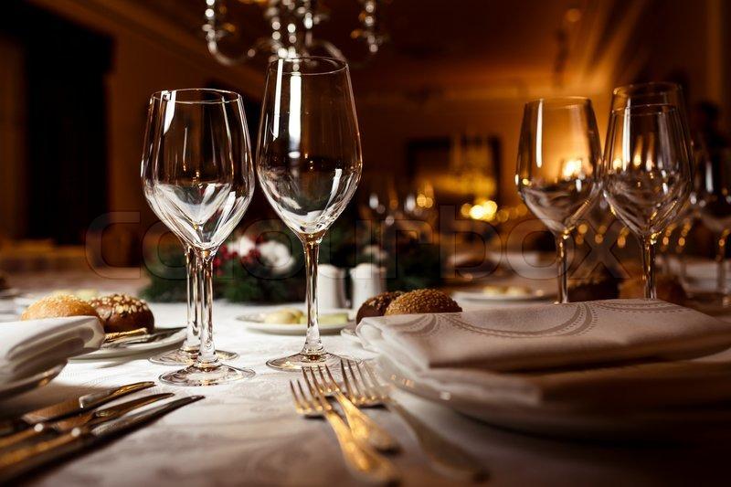 Empty glasses in restaurant. Table setting for celebration stock photo & Empty glasses in restaurant. Table setting for celebration | Stock ...