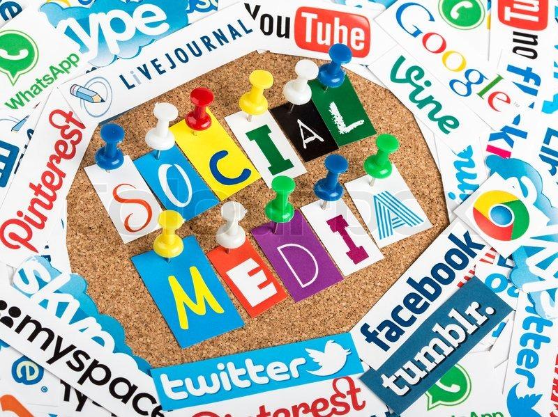belgrade - june 13, 2014 social media words made from letters pinned