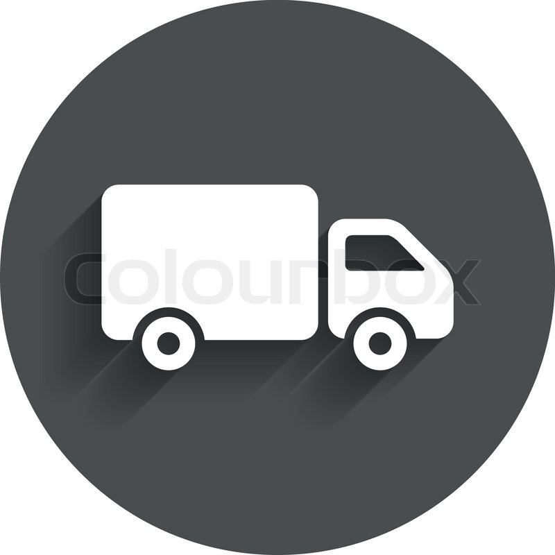 Delivery truck sign icon. Cargo van symbol. Circle flat ...