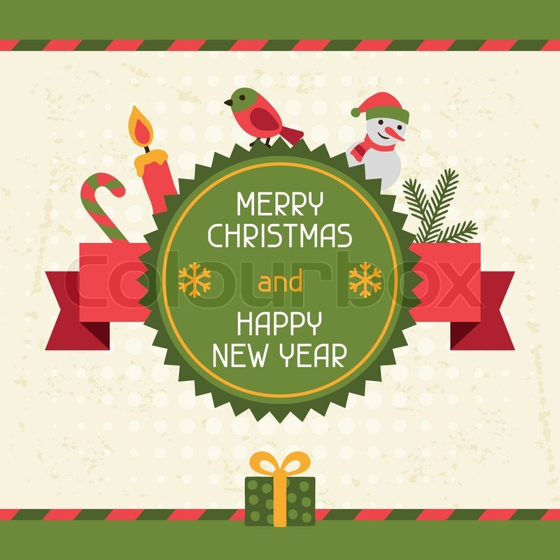 merry christmas and happy new year invitation card stock vector colourbox