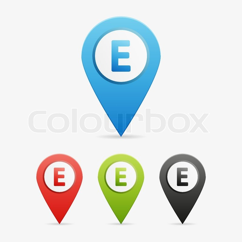 Set of clean vector color letter and number symbol icon pointers, E ...
