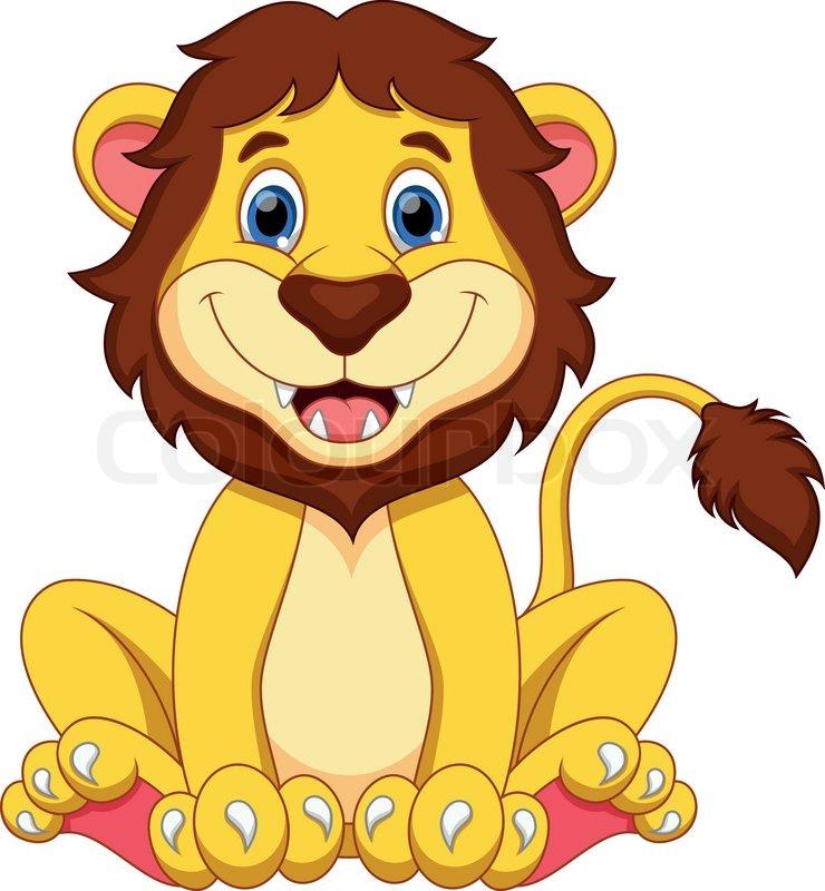 cute lion cartoon stock vector colourbox