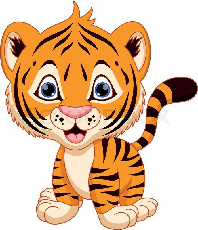 cute baby tiger cartoon stock vector colourbox rh colourbox com