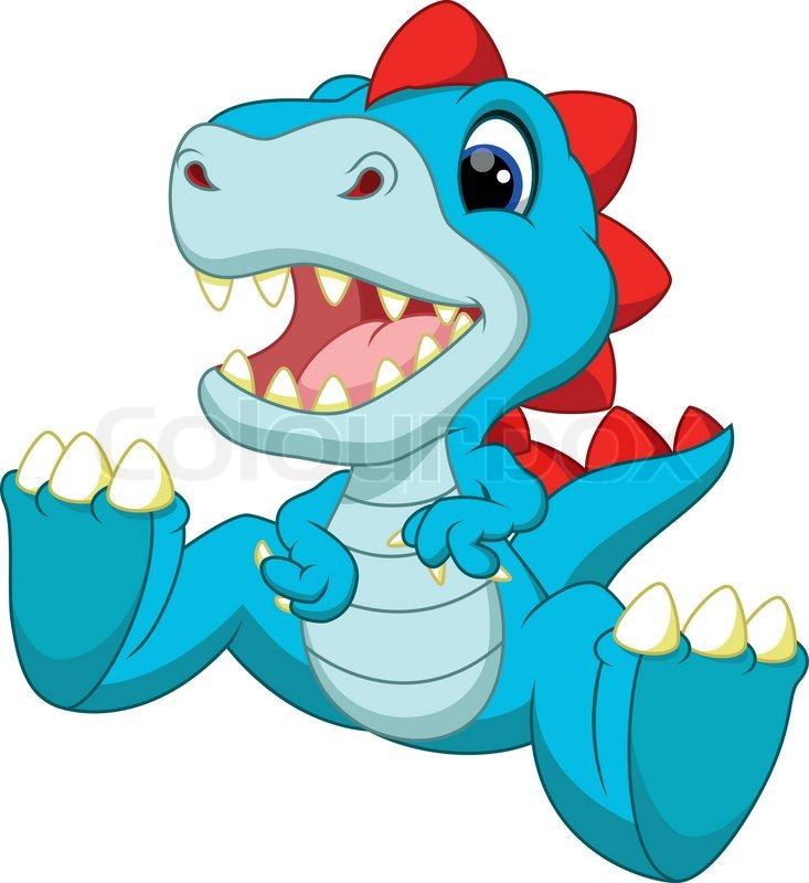 Cute baby dinosaur cartoon | Stock Vector | Colourbox