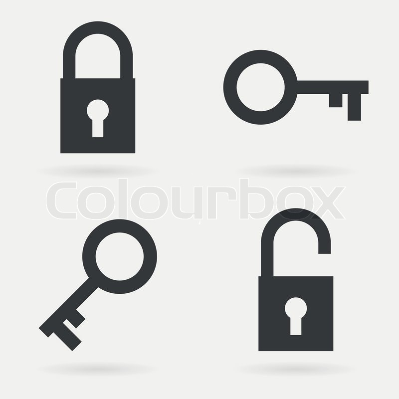clean modern flat simple key and lock symbol icons stock vector