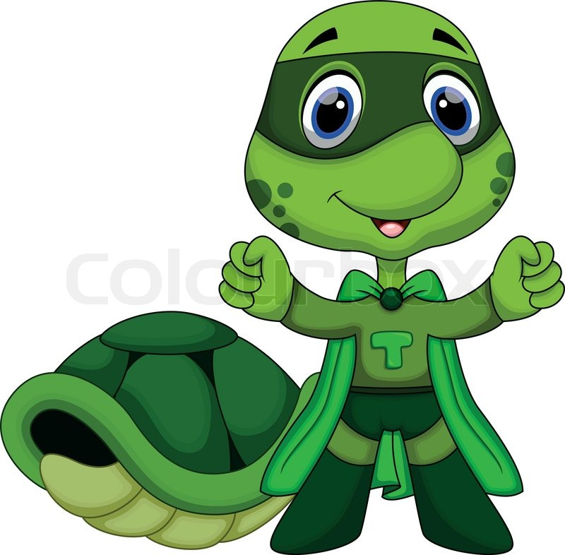 Cute Super Turtle Cartoon Stock Vector Colourbox