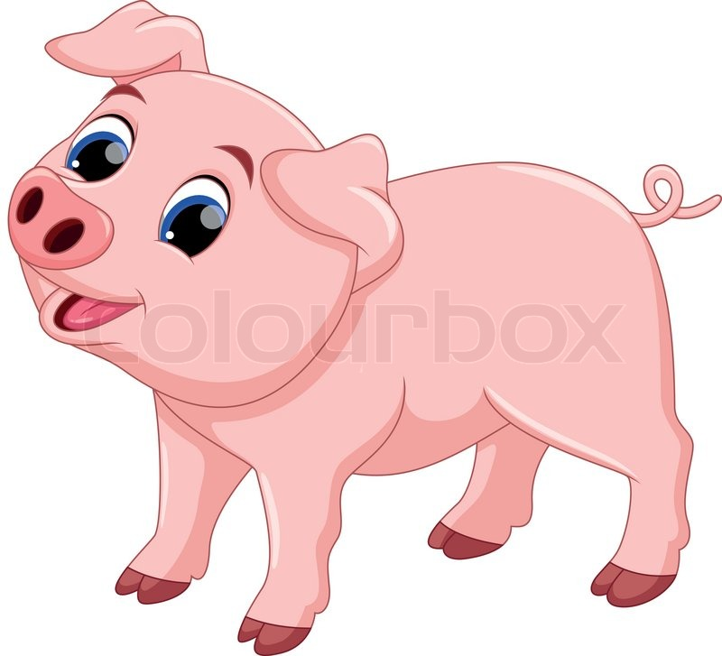 Cartoon pigs are cute and adorable stock vector colourbox - Pig wallpaper cartoon pig ...