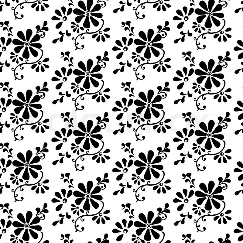 Black and white seamless pattern of chamomile flowers and ...