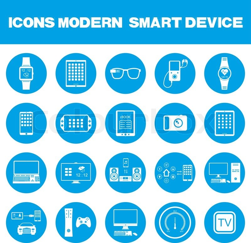 icons set of smart devices modern wearable electronics audio and video gadgets communication. Black Bedroom Furniture Sets. Home Design Ideas