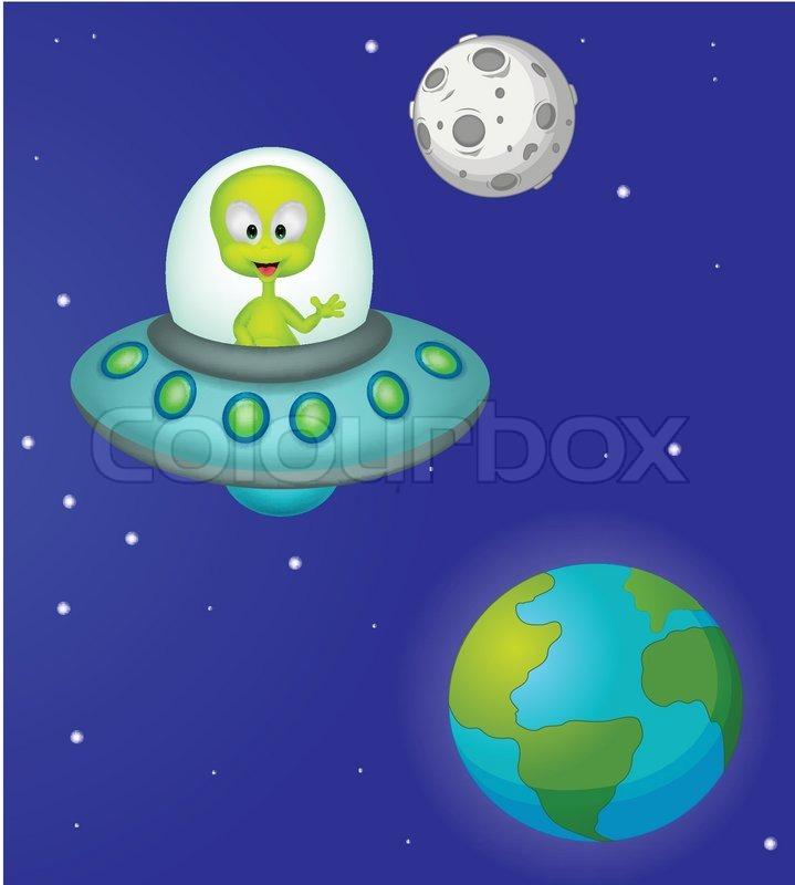 Vector illustration of Funny cartoon alien, vector