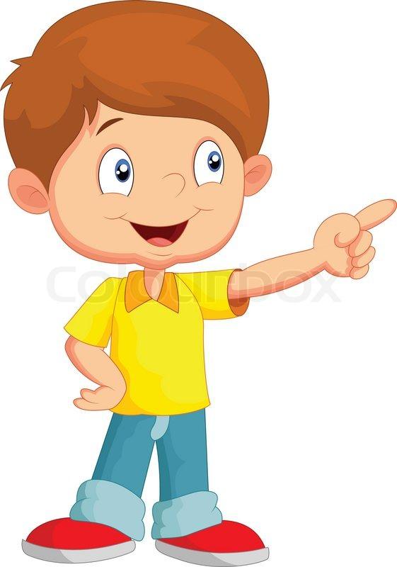 Little Boy Toys Clip Art : Vector illustration of little boy cartoon pointing away