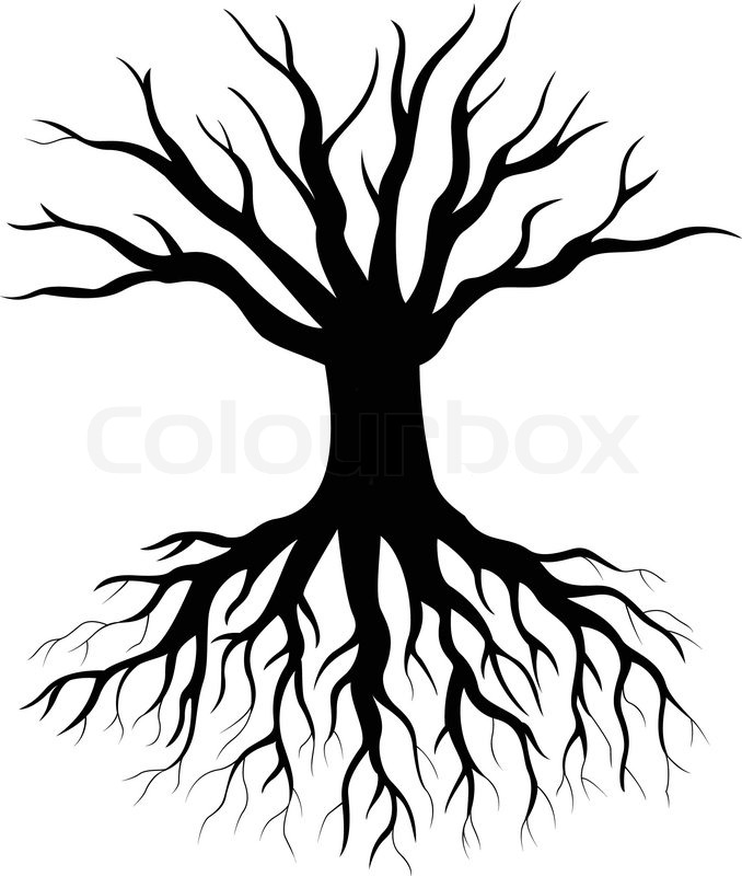 Vector illustration of Tree silhouette cartoon | Stock Vector ...