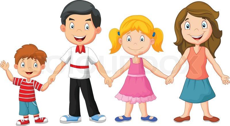 Imagen De Una Familia Feliz Animada: Vector Illustration Of Happy Family Cartoon Holding Hands