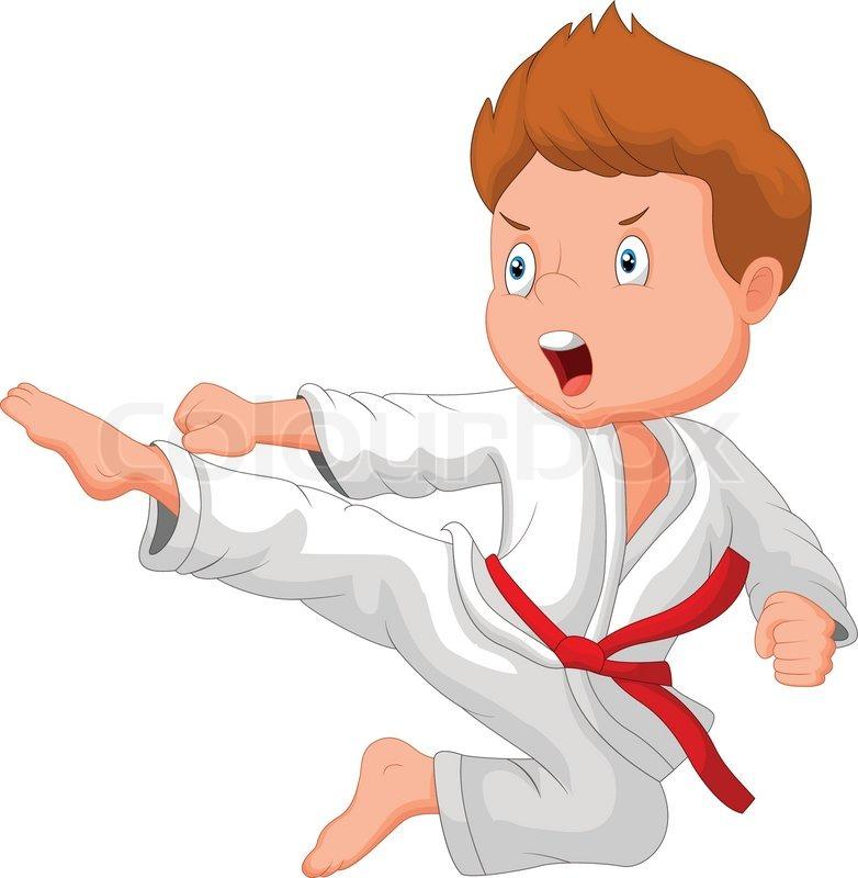 Vector illustration of Little boy cartoon training karate ...