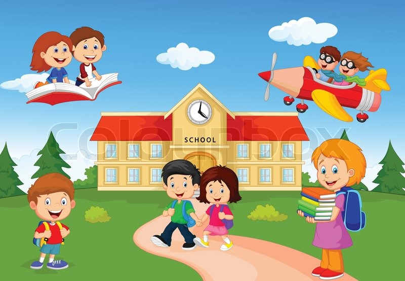 Resultado de imagen de children at school cartoon