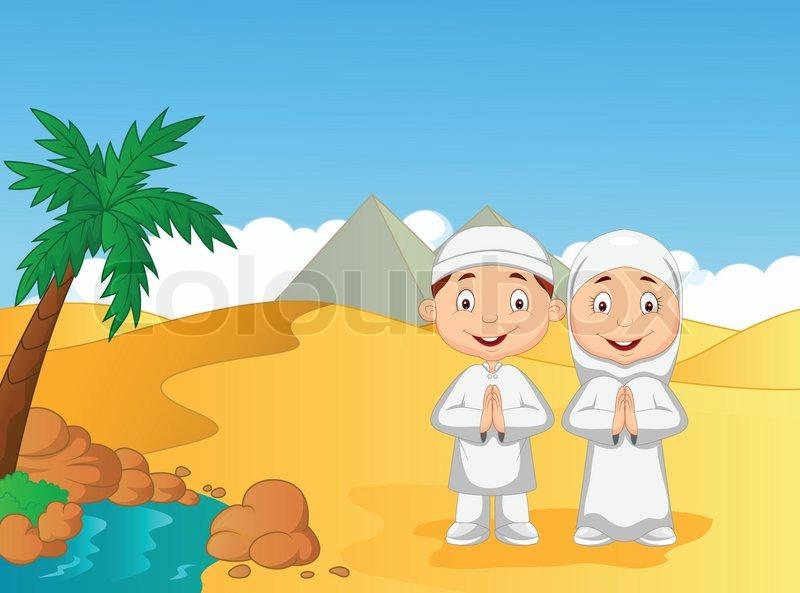 Vector Illustration Of Cartoon Muslim Kids With Pyramid