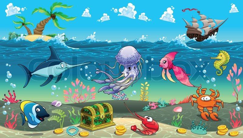 funny scene under the sea vector cartoon illustration stock rh colourbox com Under the Sea Scene Cartoon Cartoon Ocean Background