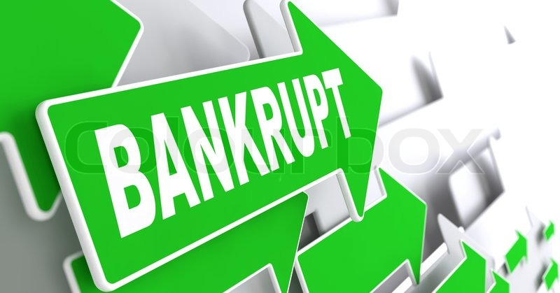 Bankrupt on Direction Sign - Green Arrow on a Grey Background, stock photo