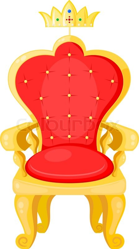Bright Red Throne And The Royal Crown Isolated On A White