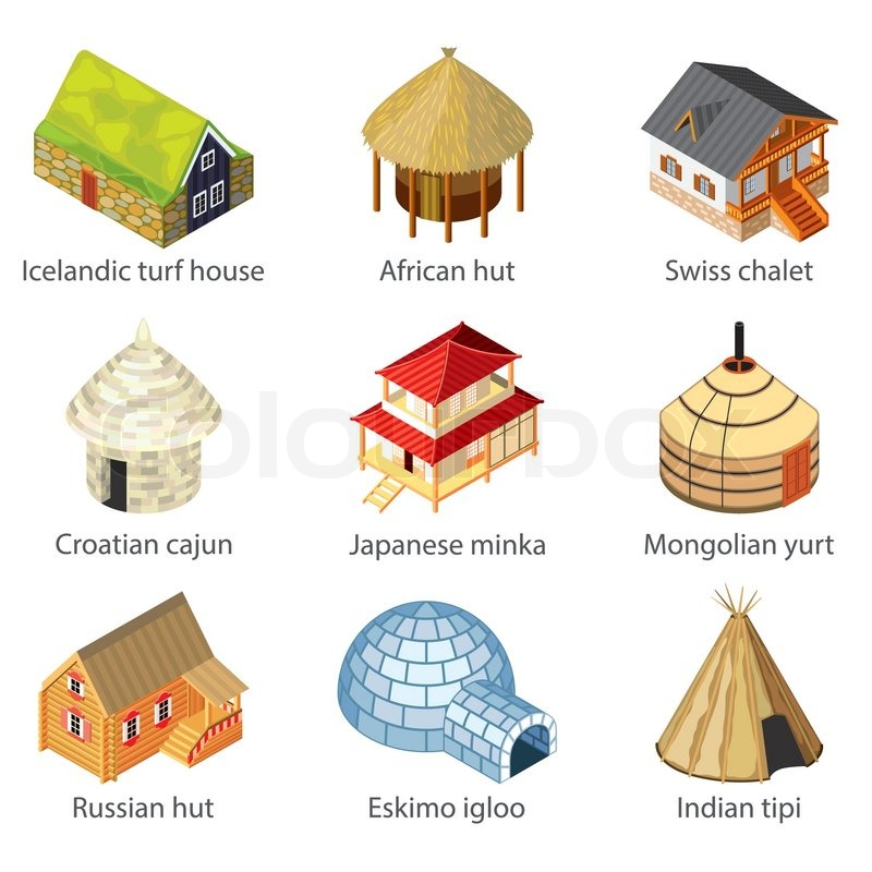 Houses of different nations icons photo realistic vector for Pictures of different homes