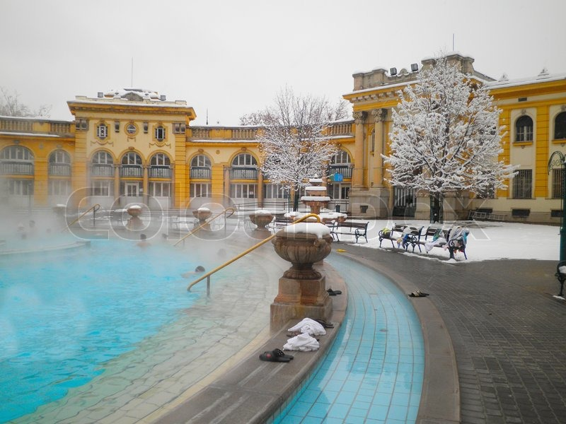 Szechenyi Thermal Bath In Budapest At Snowy Winter Day
