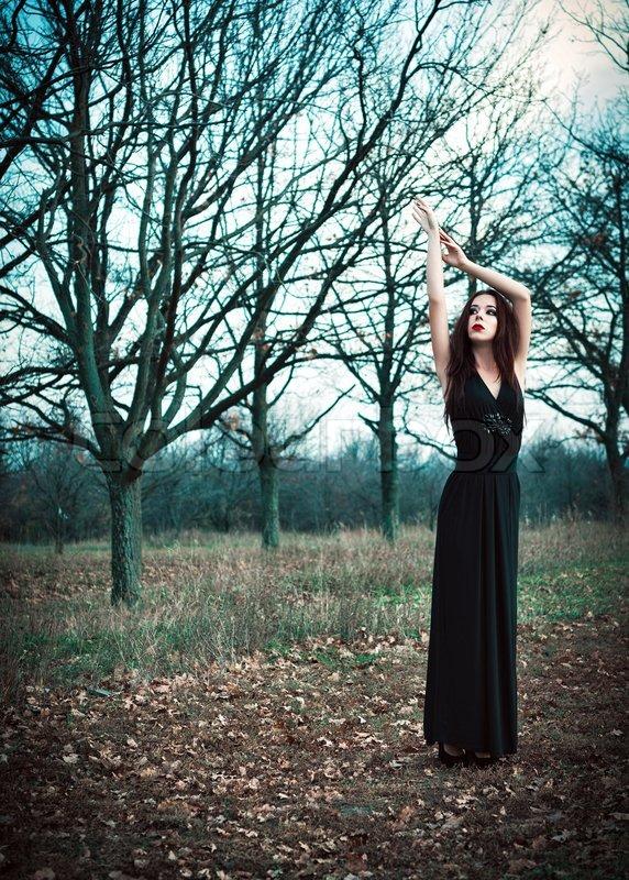 A Cute Goth Girl Wearing Black Dress Stock Photo Colourbox