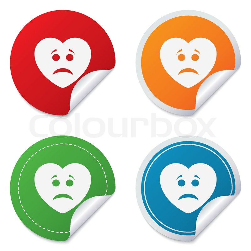 Sad Heart Face Sign Icon Sadness Depression Chat Symbol Round