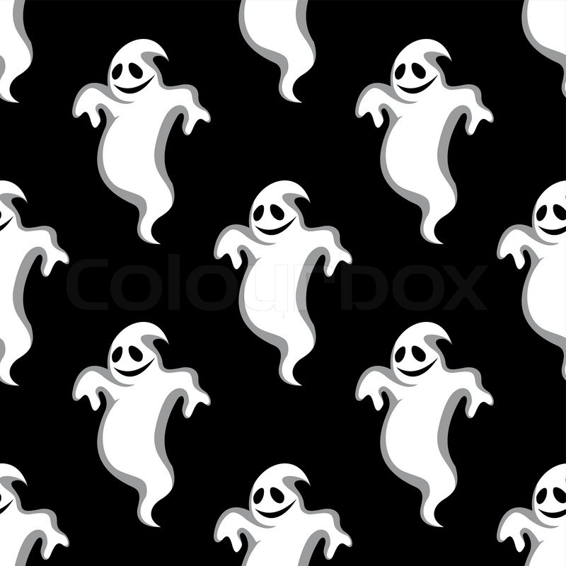 Seamless pattern of night flying scary ghosts on black background ...