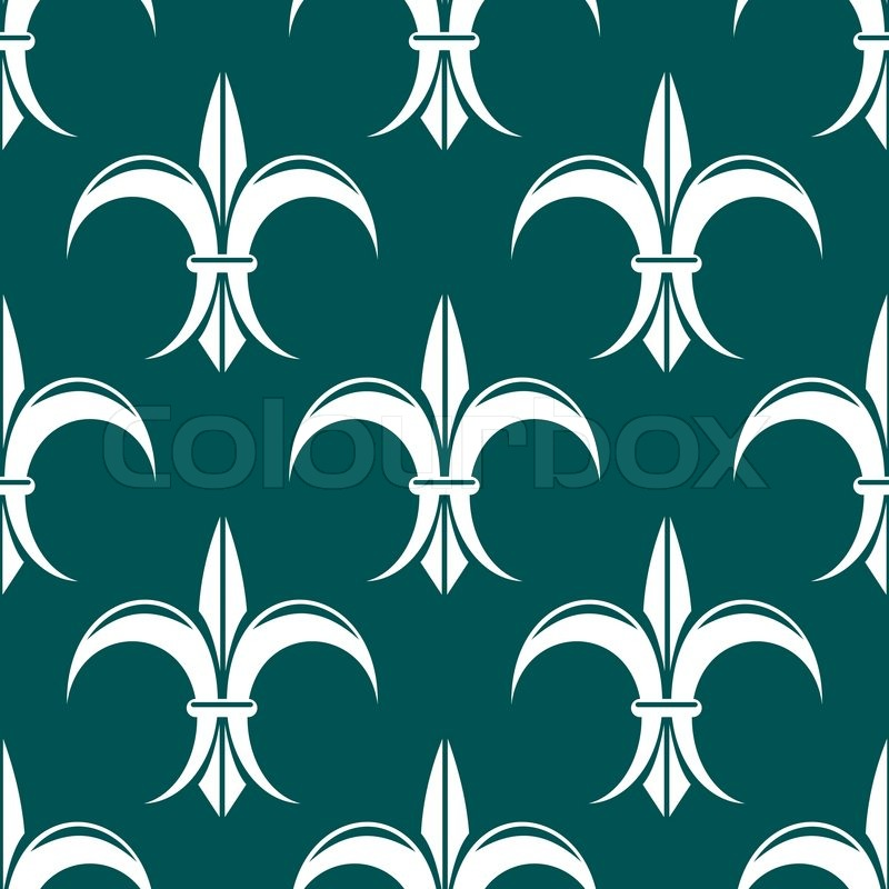Seamless Royal Floral Fleur De Lis Pattern On Dark Turquoise Colored Background