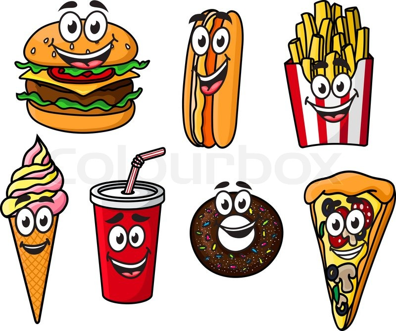 Happy Colorful Takeaway Cartoon Food With Cute Smiling