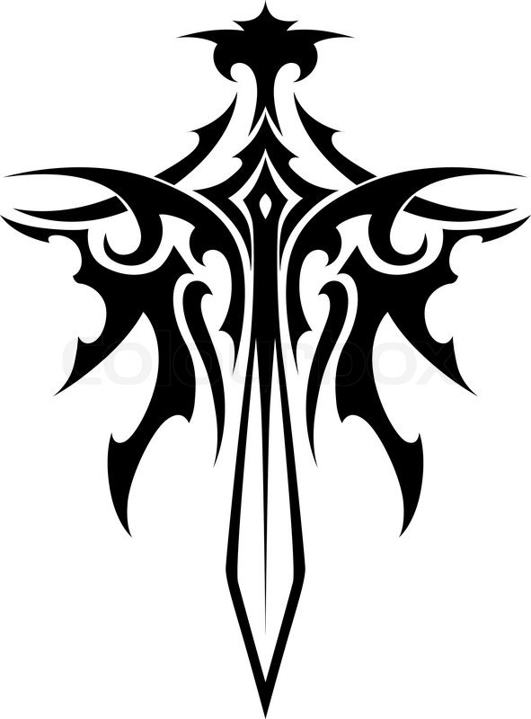 winged sharp sword tribal style for fantasy and tattoo design rh colourbox com tribal sword and shield tattoo tribal dragon sword tattoo