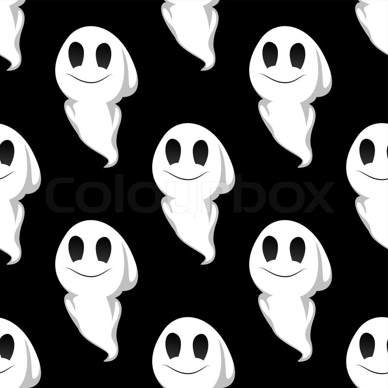 Cartoon cute smiling ghosts seamless pattern background for
