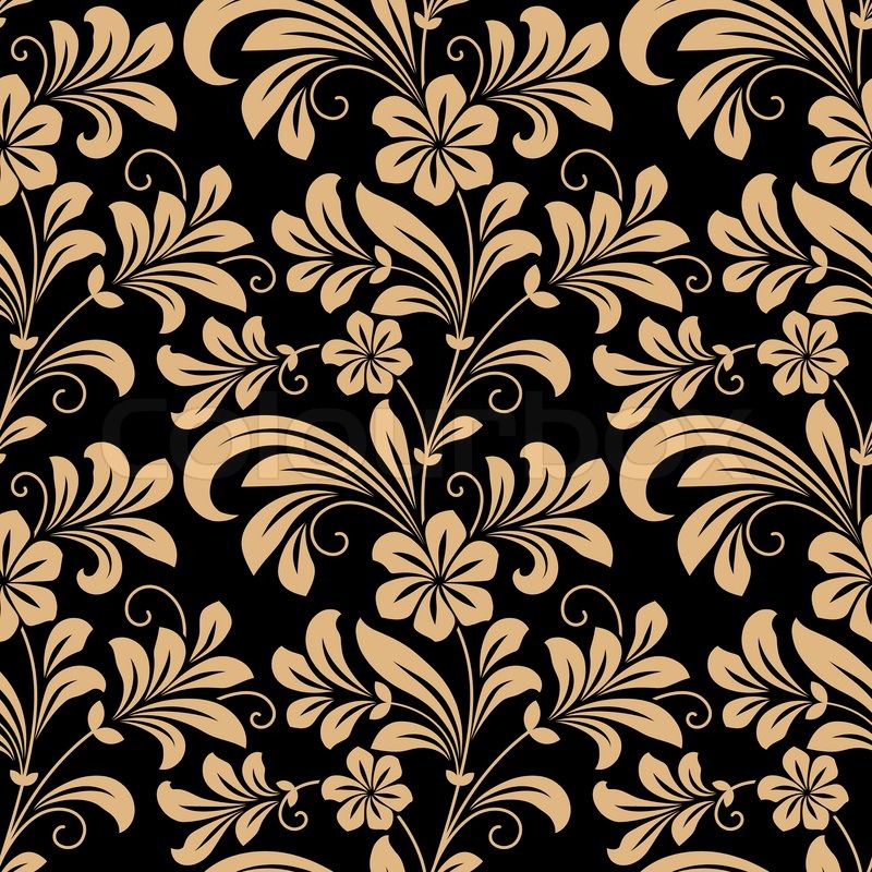 Floral Seamless Pattern With Gold Flowers On Dark Red In Square Format For Wallpaper Background Design