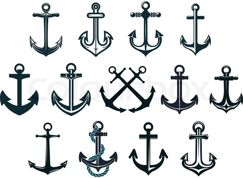 antique and vintage marine anchors set isolated on white anchor with rope clipart Anchor Clip Art Transparent Background