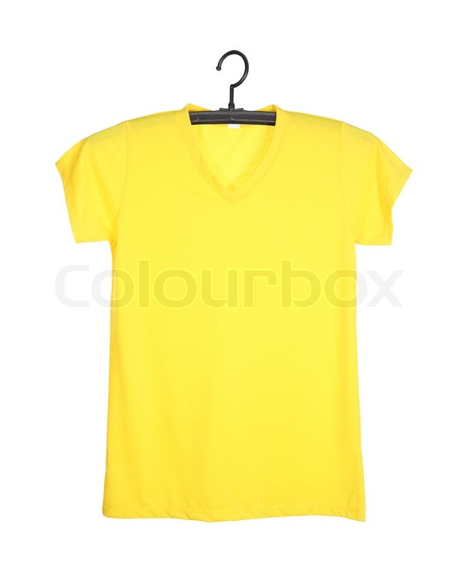 Stock Image Of Yellow T Shirt Template On Hange Front Side Isolated