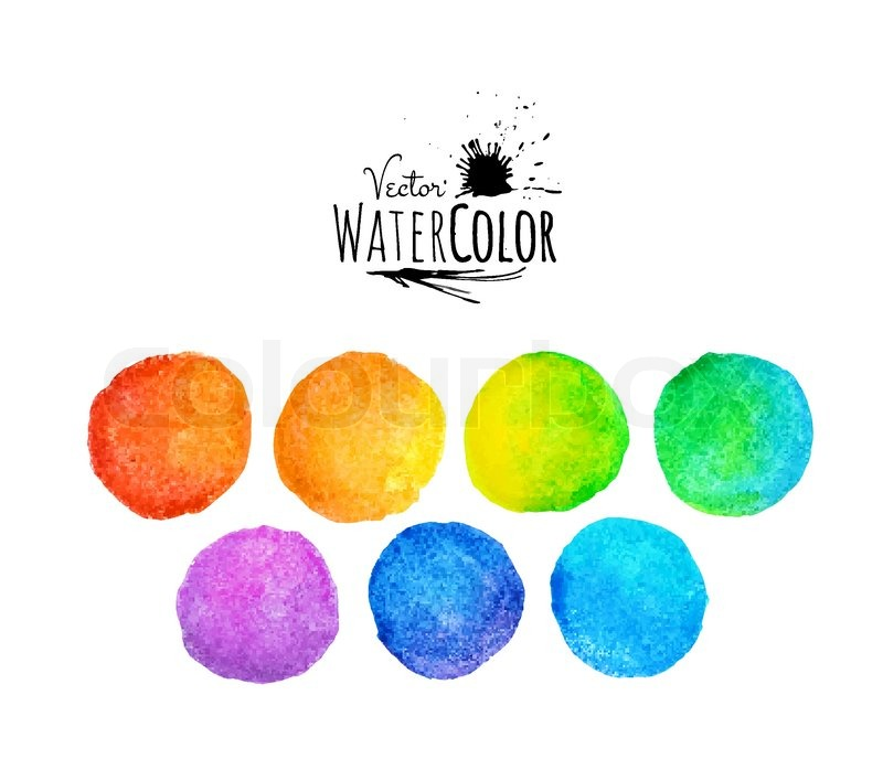 colorful set vector isolated watercolor paint circles template